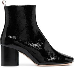 chunky leather ankle boots - Black