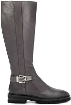 side buckle detail boots - Grey