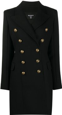 double-breasted fitted coat - Black