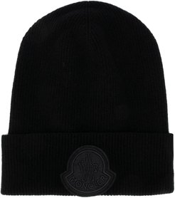 logo patch knit hat - Black