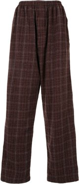 checked wide-leg trousers - Red