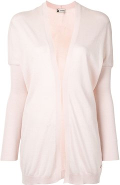 open front rib-trimmed cardigan - PINK