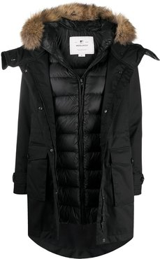 faux-fur trimmed hood puffer coat - Black