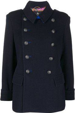 short double-breasted coat - Blue