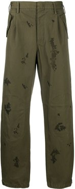contrast print trousers - Green