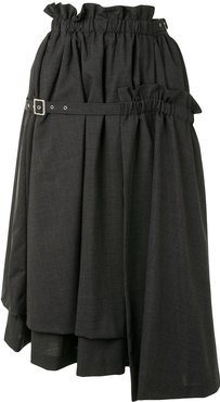 belted full-shape midi skirt - Grey