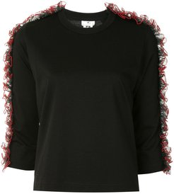 ruffled trim fine knit jumper - Black