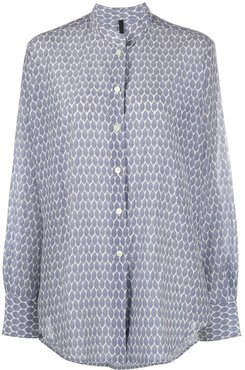 abstract-print mandarin collar shirt - Blue