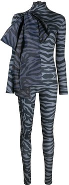 tiger print bodycon jumpsuit with oversized bow detail - Grey