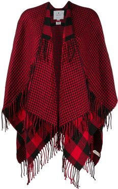 plaid check cape - Red