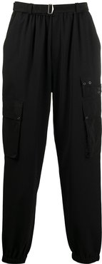 contrasting rear patch track pants - Black
