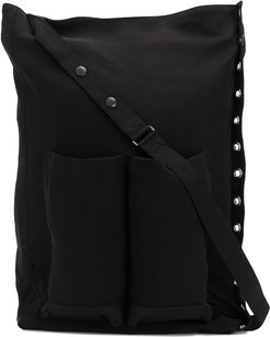large eyelet shoulder bag - Black