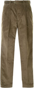 straight-leg corduroy trousers - Green
