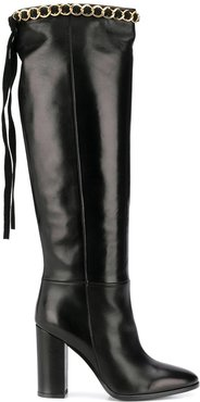 chain-trimmed boots - Black