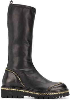zip-around mid-calf boots - Black