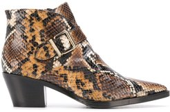 snakeskin-effect ankle boots - Brown