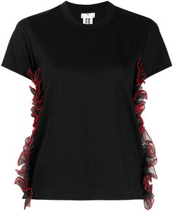 ruffle short-sleeve top - Black