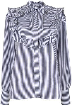 ruffled striped blouse - Blue