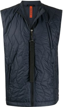 zip-up quilted gilet - Blue