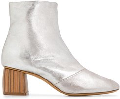 wooden heel ankle boots - SILVER