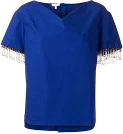 cotton-mix shirt with beaded trim - Blue