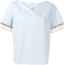 bead-fringed shirt with sweetheart neckline - Blue
