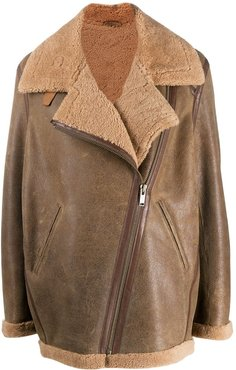 oversize shearling jacket - Brown