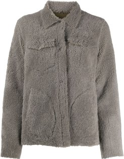 fitted shearling coat - Grey
