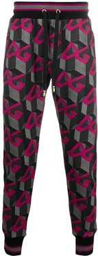 logo-print casual trousers - PINK