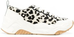 animal-print low-top sneakers - White