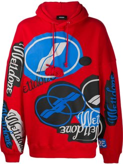 all-over logo print hoodie - Red