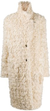 long-sleeved faux shearling coat - White