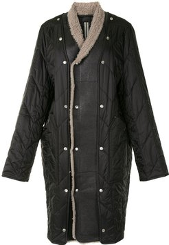 shearling-trimmed quilted coat - Black