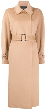 double-breasted wool midi coat - Neutrals
