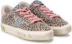 leopard lace-up plimsoll trainers - Neutrals