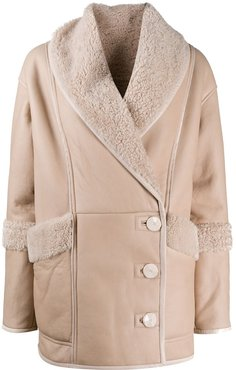 single breasted shearling jacket - Neutrals