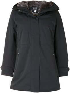 stone synthetic down and fur rain parka - Black