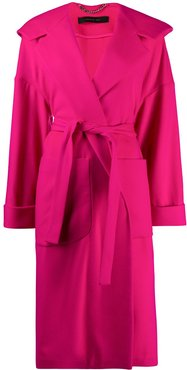 oversized knit belted coat - PINK