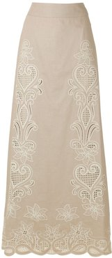Giordanna embroidered long skirt - Neutrals