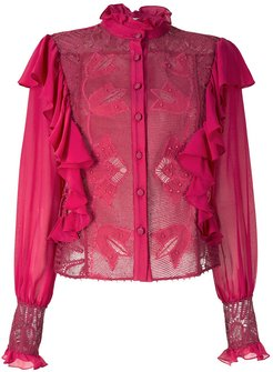 Bárbara shirt with lace and ruffle - Red