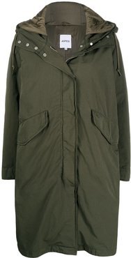drawstring hood parka coat - Green