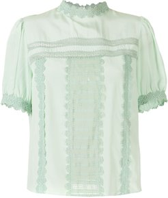 Giovanna silk blouse with lace - Green