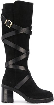 buckled chunky-heel boots - Black