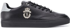 low top leather trainers - Black