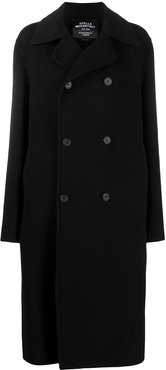 double-breasted hooded wool coat - Black