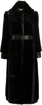 button-front oversized coat - Black