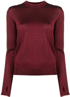 glitter crew-neck sweater - Red