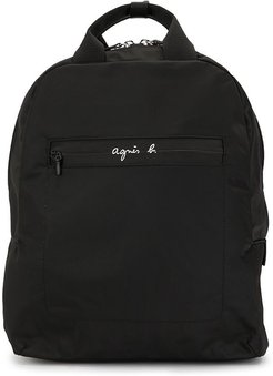 logo print backpack - Black