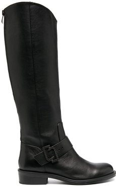 logo-buckle riding boots - Black
