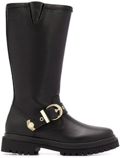 mid-calf buckle strap boots - Black